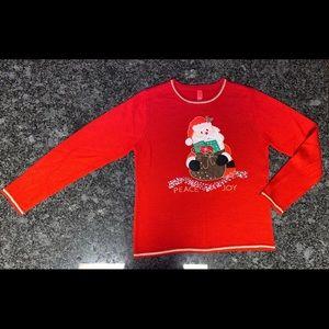 Santa,Peace & Joy Bedazzled Ugly Christmas Sweater